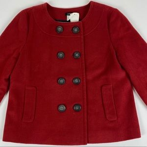 J. Crew Wool Red Cropped Pippa Peacoat Jacket Sz 8